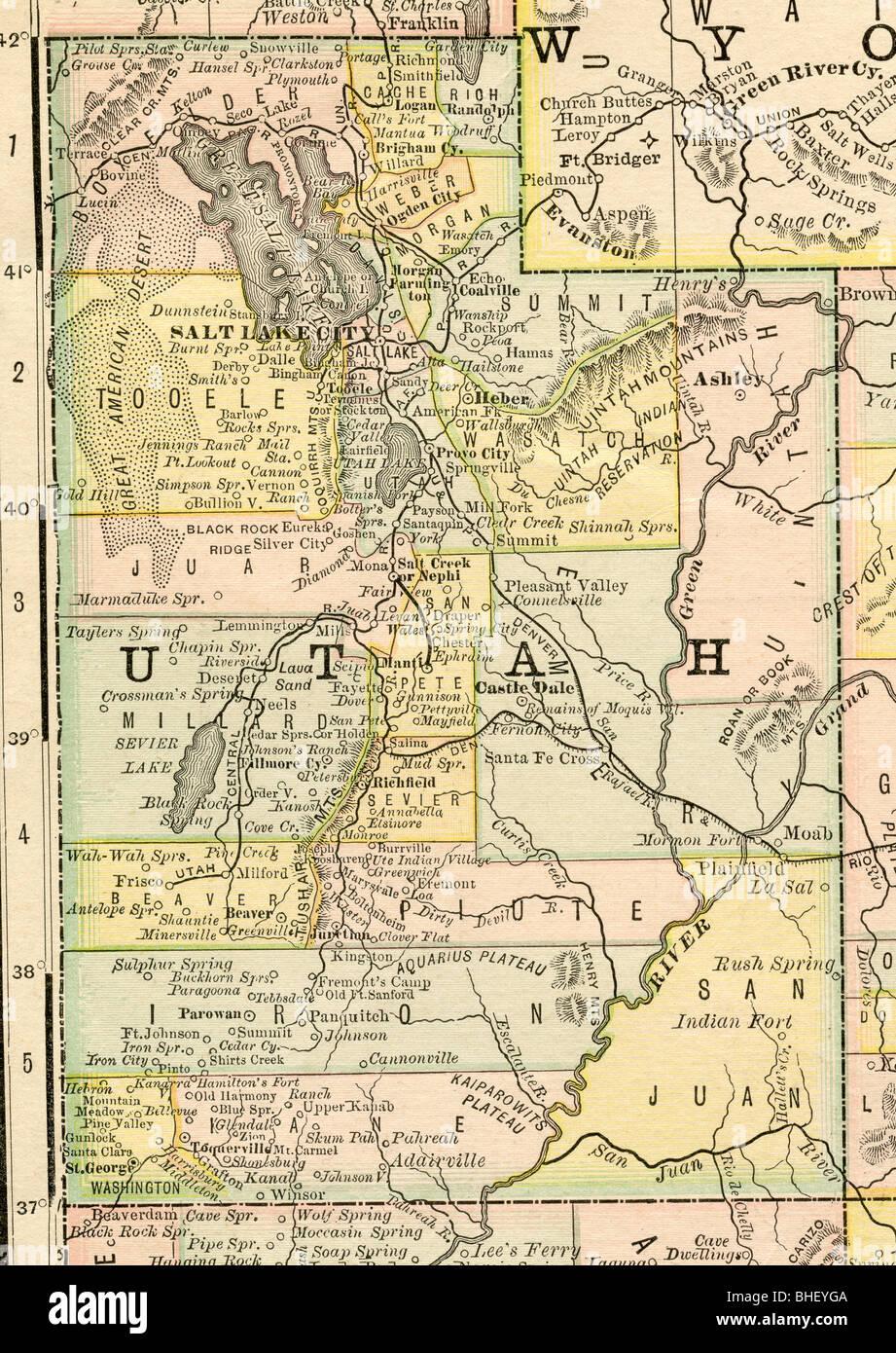 Old Map Of Utah From Original Geography Textbook Stock Photo - Map of utah