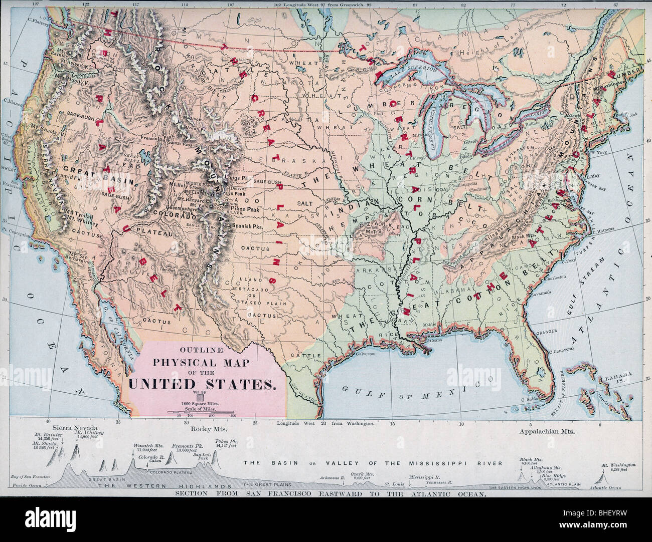 Old Physical Map Of USA From Original Geography Textbook - Physical map of usa