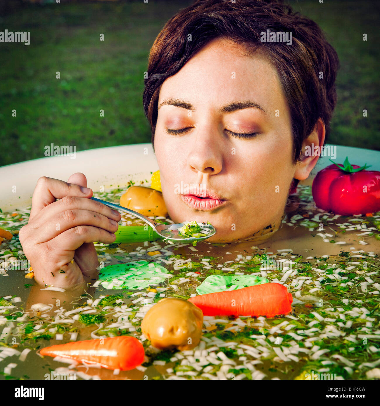 Woman In Soup Bath Stock Photo Royalty Free Image