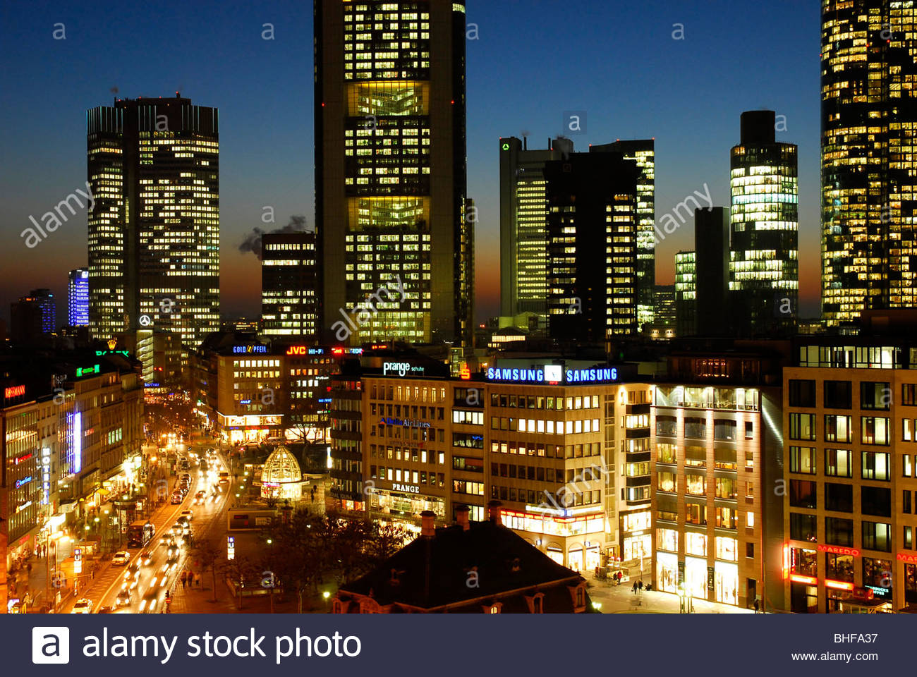 banking district in the evening frankfurt am main hesse germany stock photo royalty free. Black Bedroom Furniture Sets. Home Design Ideas