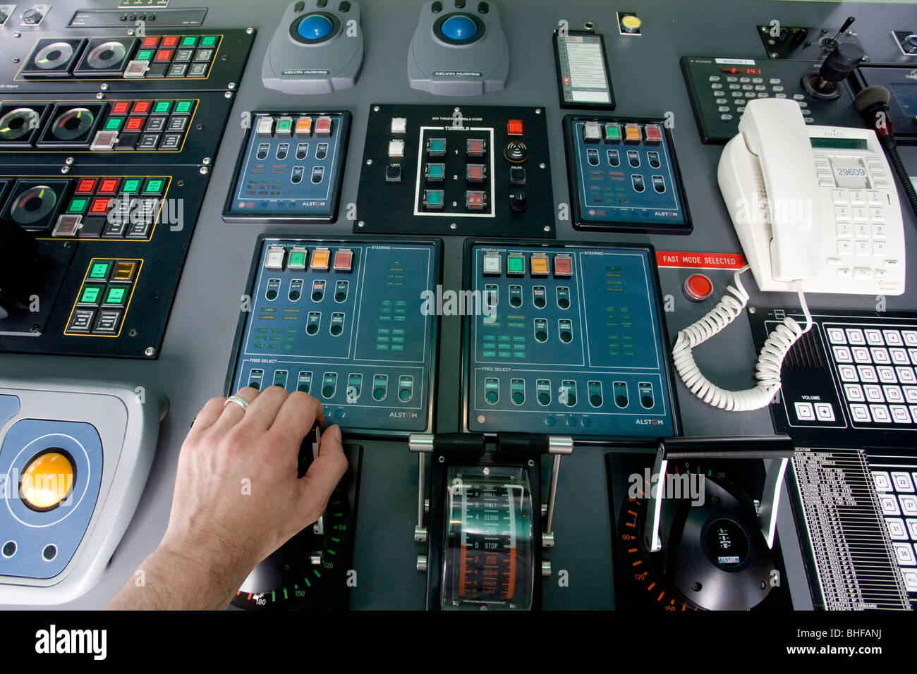 Instruments On The Bridge Of The Cruise Ship For The Steering And - Cruise ship controls
