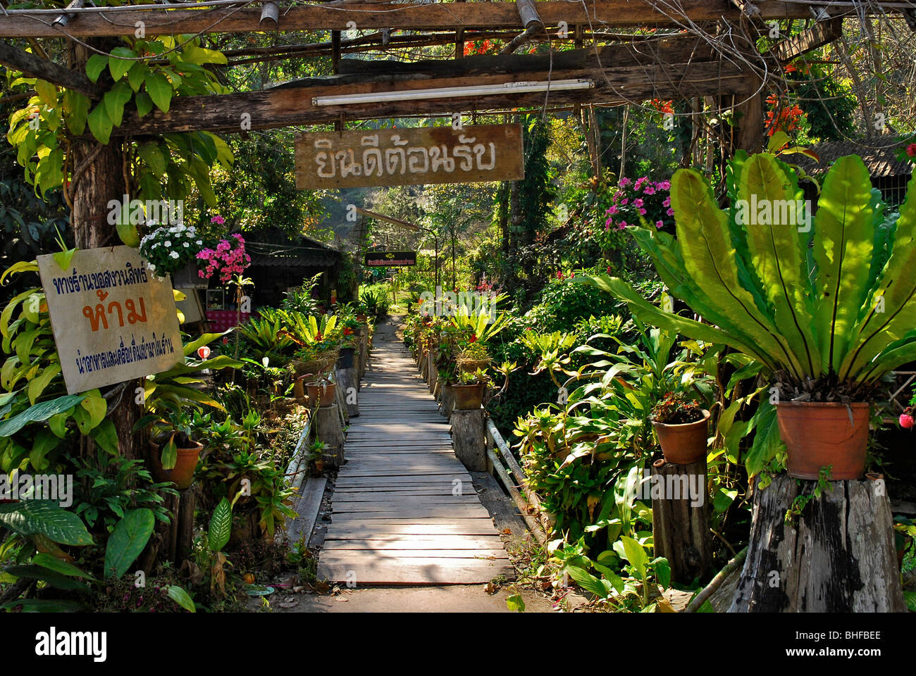 Bridge Into The Garden, Restaurant Near A Waterfall, Mae Rim Valley,  Province Chiang Mai, Thailand, Asia