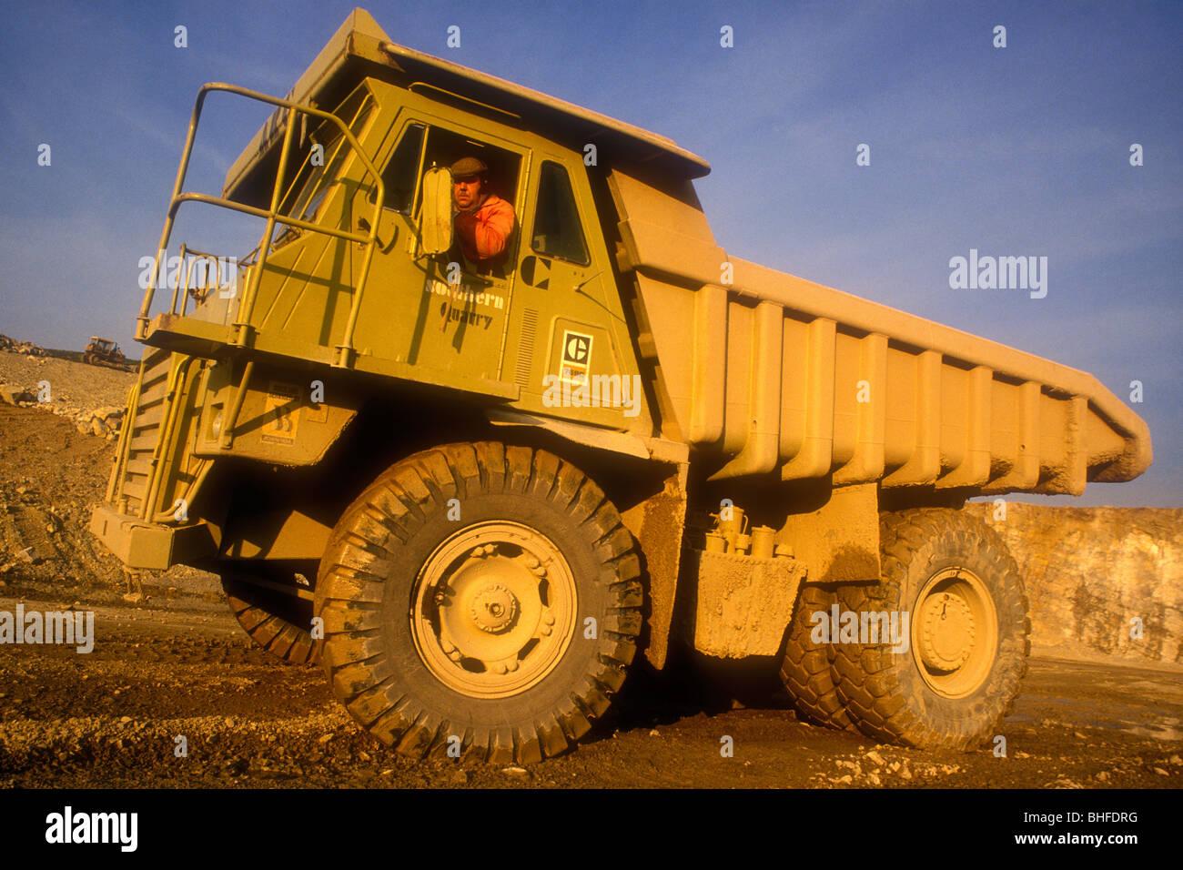 Giant caterpillar quarry dump truck