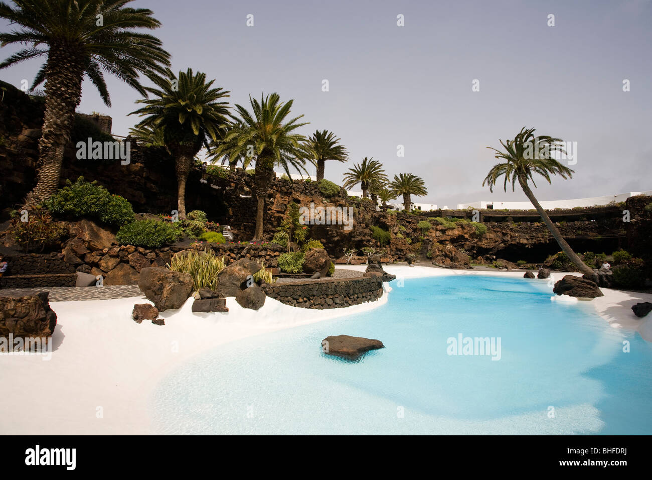 Swimming Pool With Palm Trees Near A Volcanic Cave Jameos Del Agua Stock Photo Royalty Free
