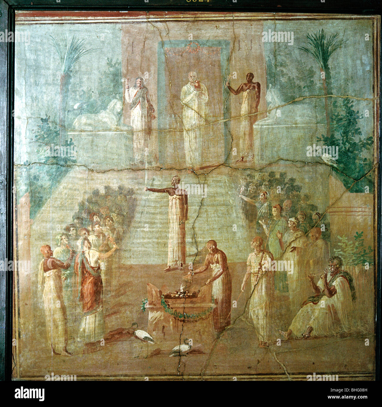 ancient roman priest stock photos ancient roman priest stock roman wallpainting showing priests of isis performing their ceremony herculaneum italy stock