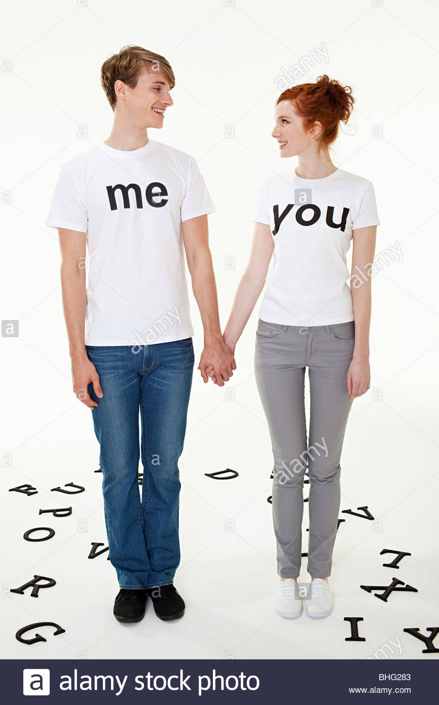Couple In T-shirts That Read Me And You Stock Photo, Picture And ...