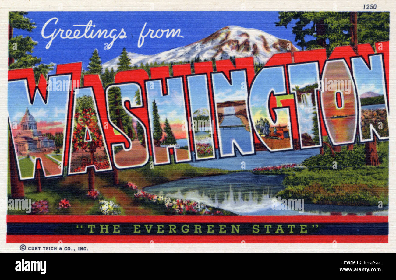 Greetings from washington stock photos greetings from washington greetings from washington the evergreen state postcard 1940 stock kristyandbryce Gallery