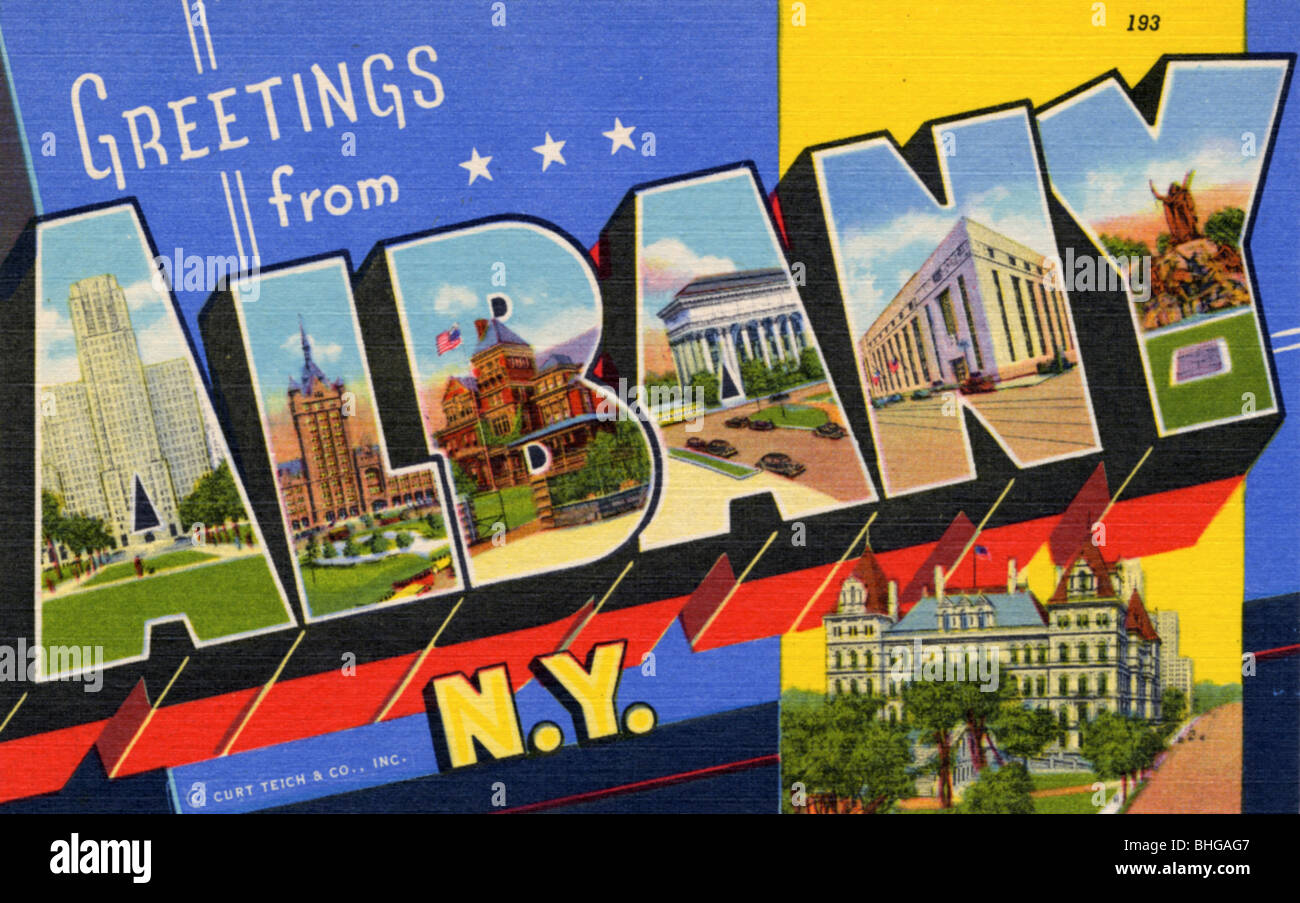 Greetings from albany new york postcard 1941 stock photo greetings from albany new york postcard 1941 kristyandbryce Images