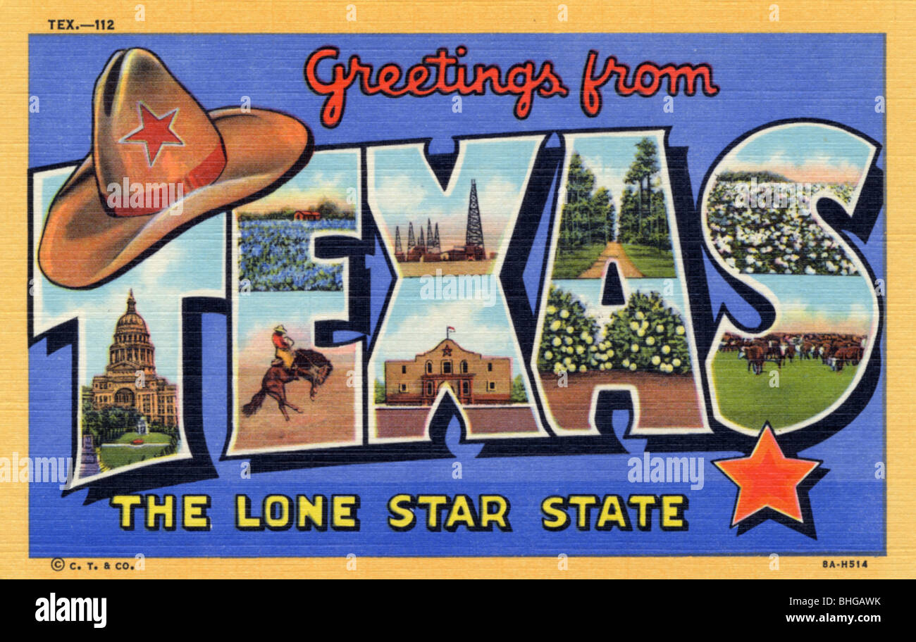 Greetings from texas the lone star state postcard 1938 stock greetings from texas the lone star state postcard 1938 kristyandbryce Choice Image