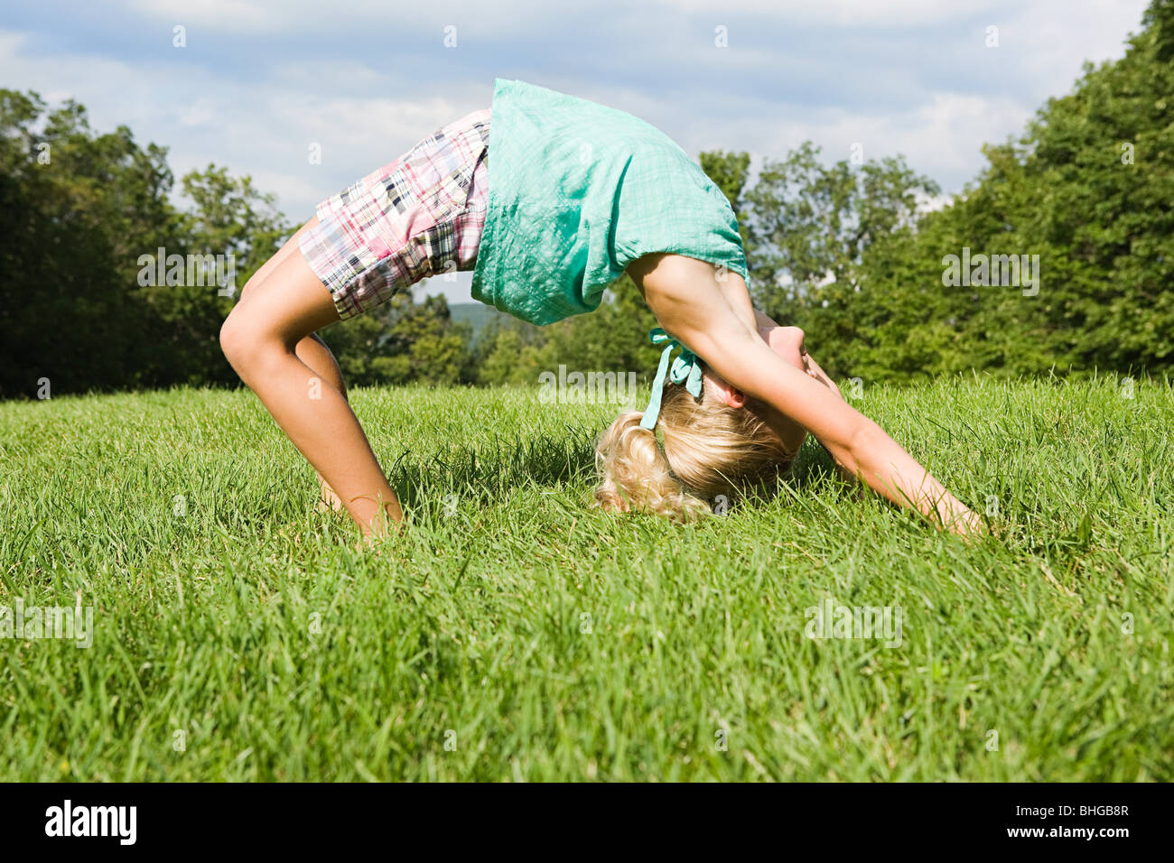 Girl Bending Over Backwards Stock Photo Royalty Free