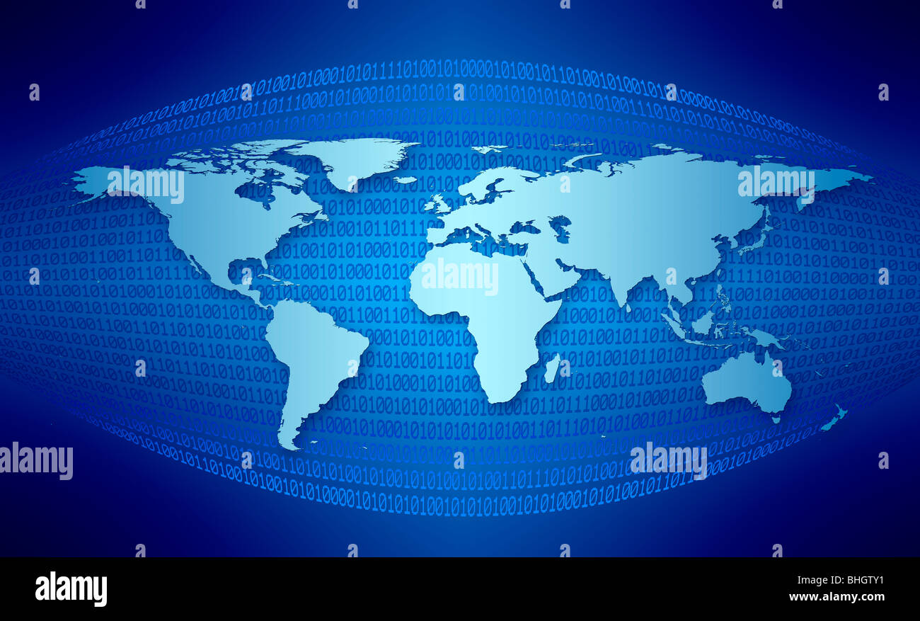 Light blue world map against a dark blue background with binary code Stock Ph