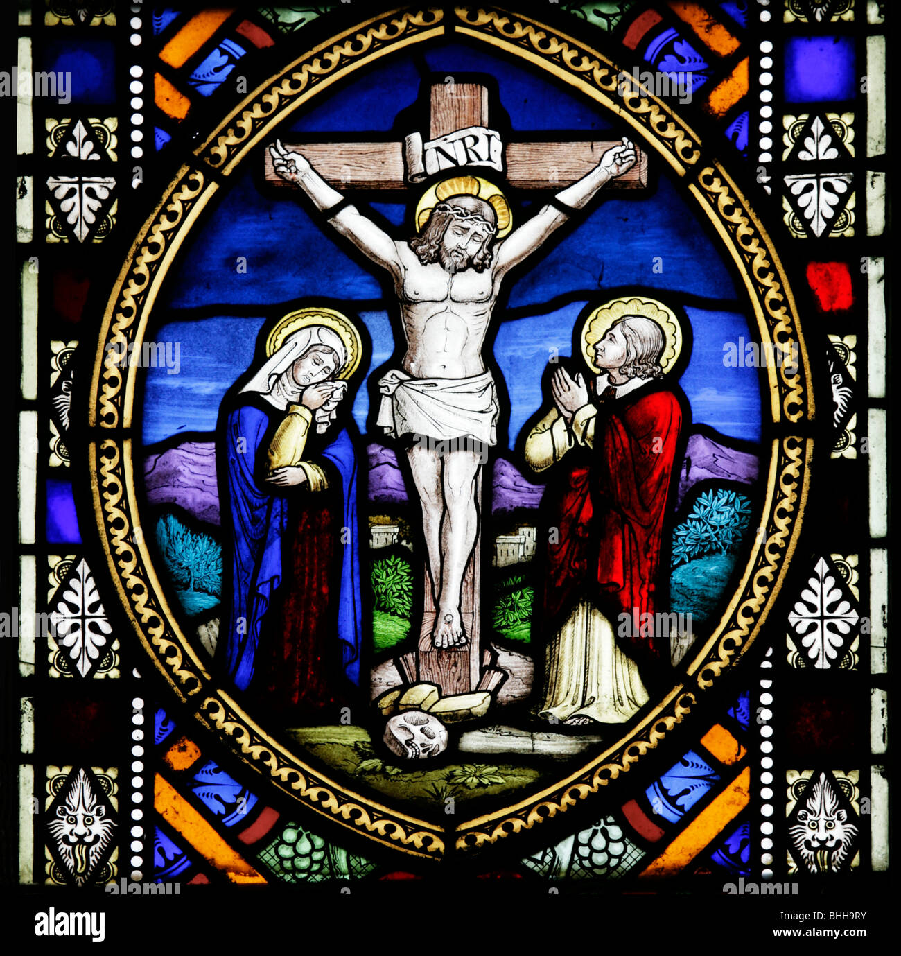 Detail Of Stained Glass Window Depicting The Crucifixion Jesus Christ Church St Andrew And Mary Langham Norfolk