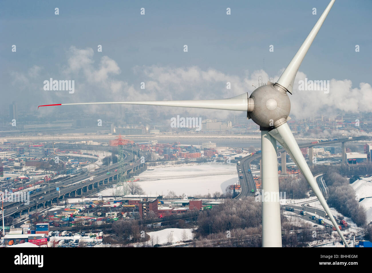 germany hamburg enercon wind turbine e 126 with 6 mw in harbour and stock photo royalty free. Black Bedroom Furniture Sets. Home Design Ideas