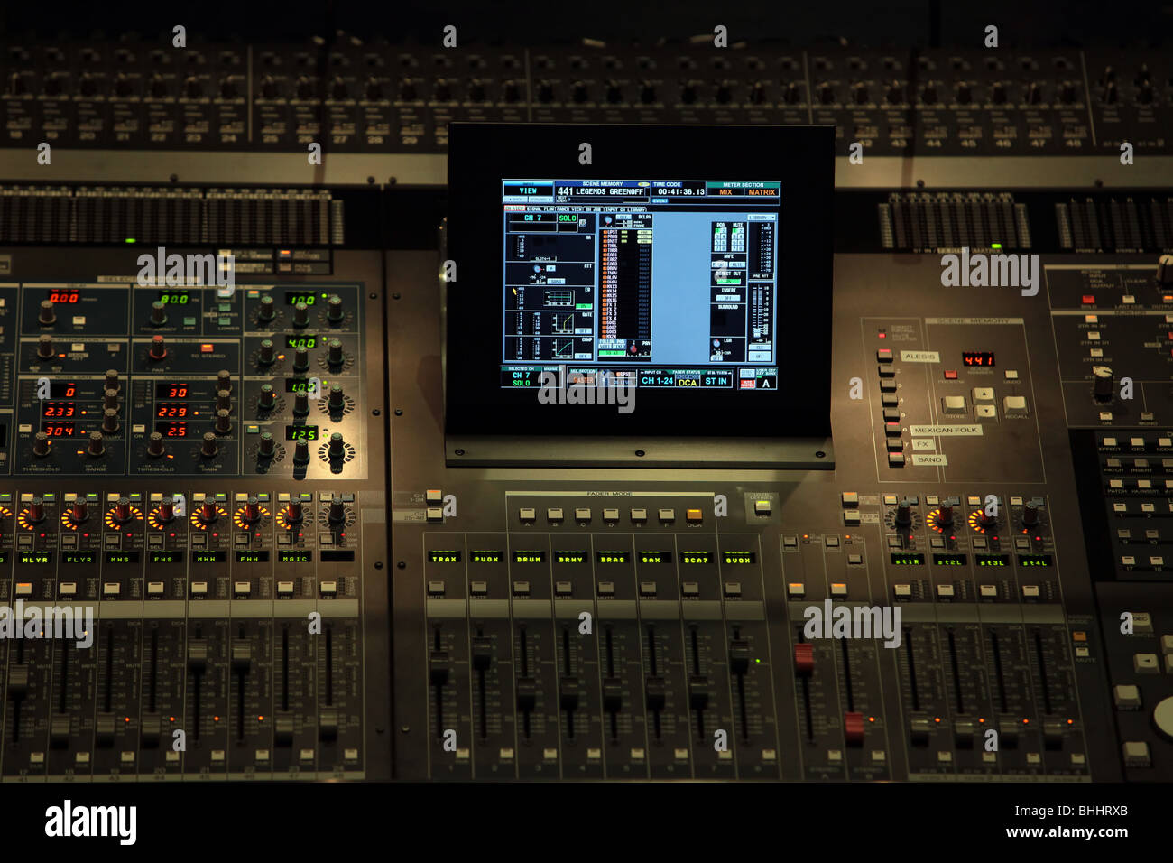 Digital Control Panel : Digital control panel in dark for audio and lighting of
