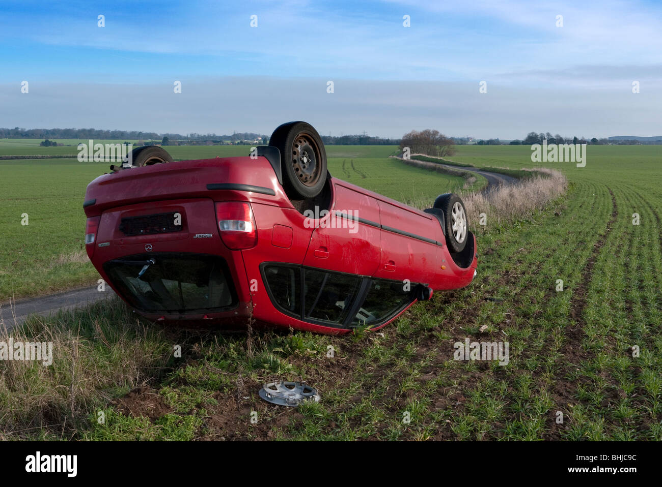 Road accident scene on a country road Stock Photo, Royalty Free ...