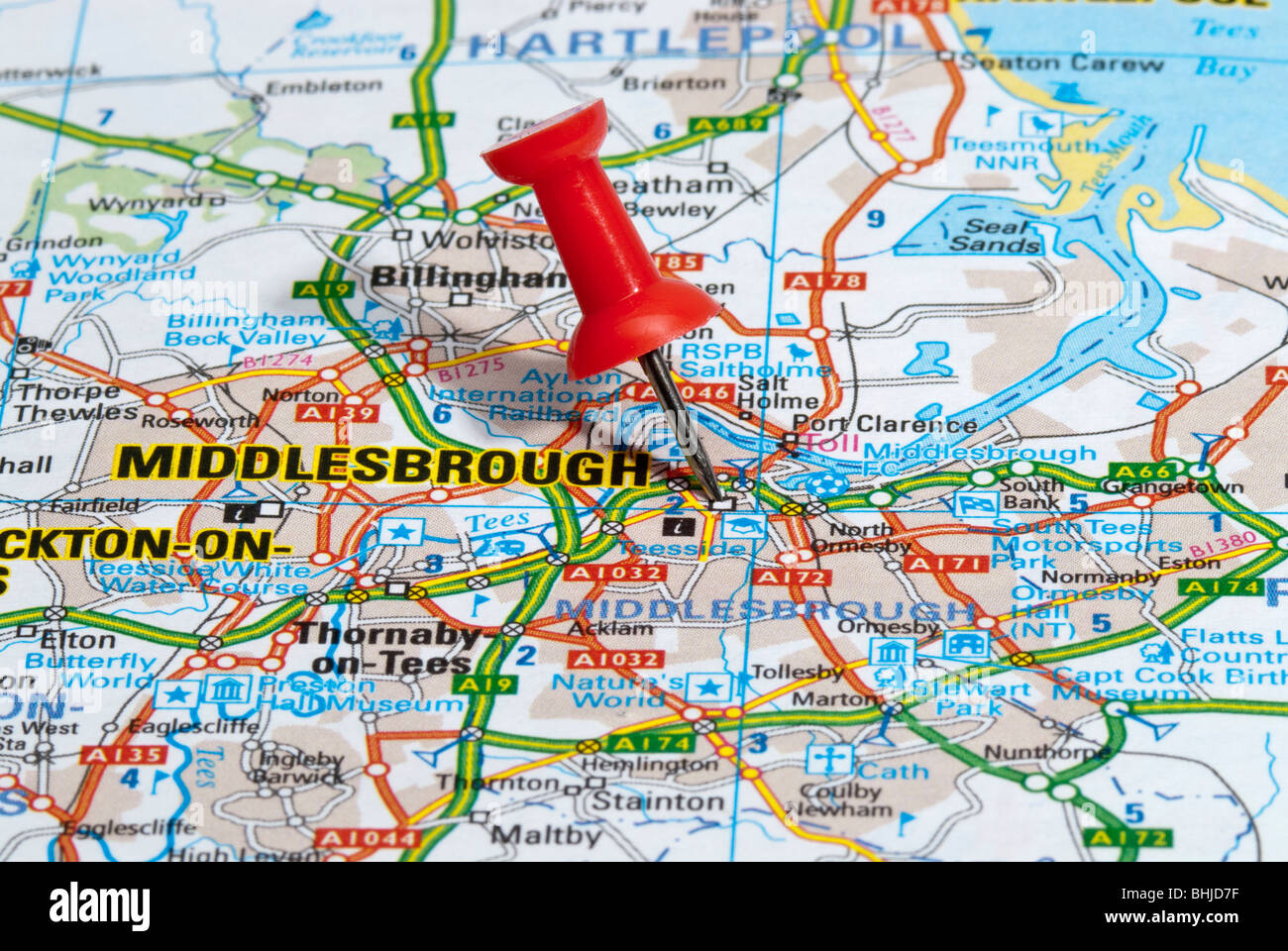 red map pin in road map pointing to city of Middlesbrough Stock