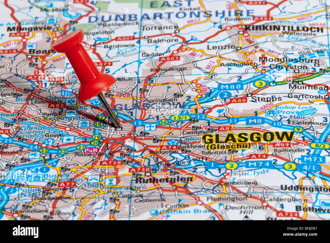Map City Glasgow Map Pin Stock s & Map City Glasgow Map Pin