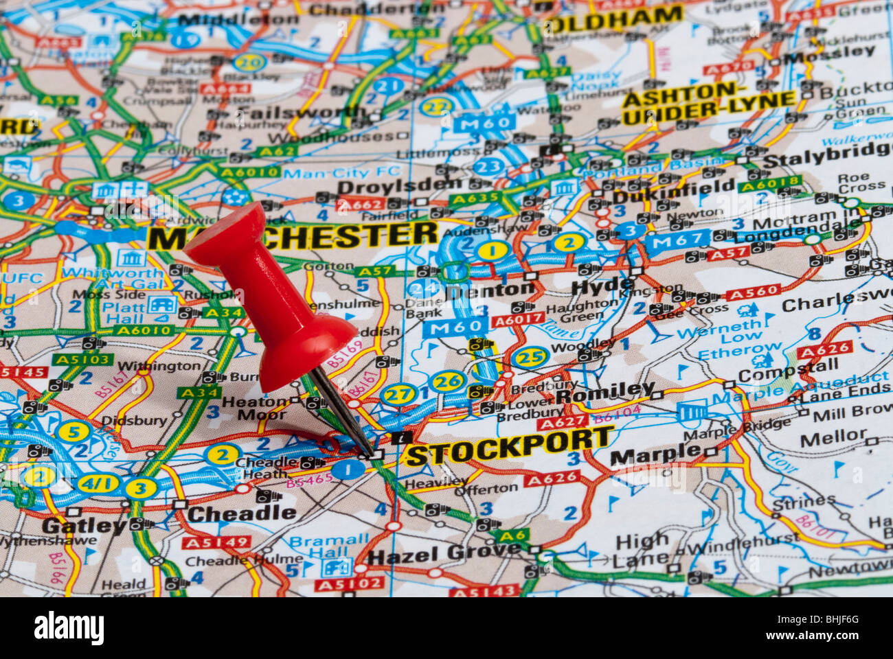 red map pin in road map pointing to city of Stockport Stock Photo