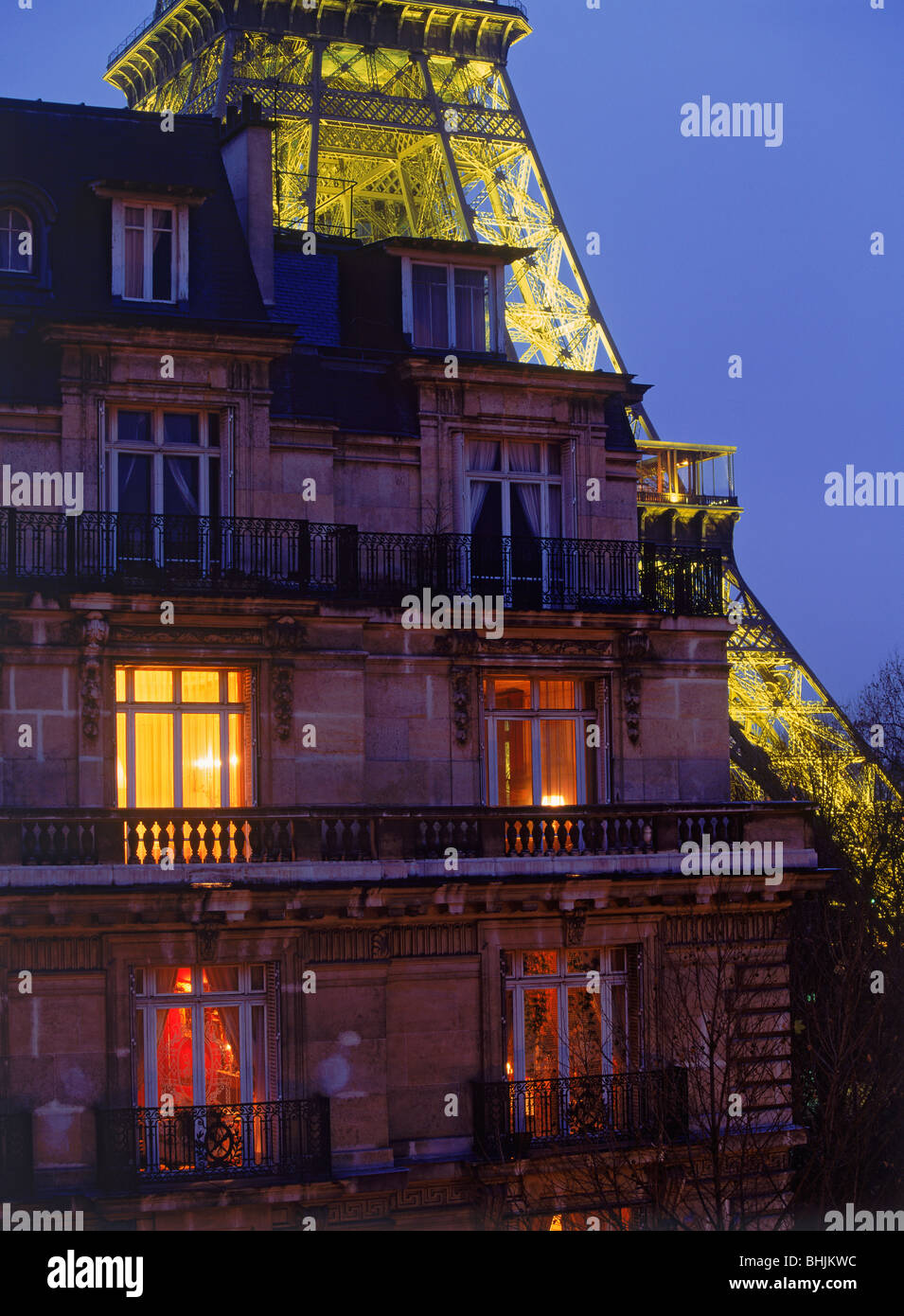Stock Photo   Top Floor Apartment With Eiffel Tower At Night In Paris