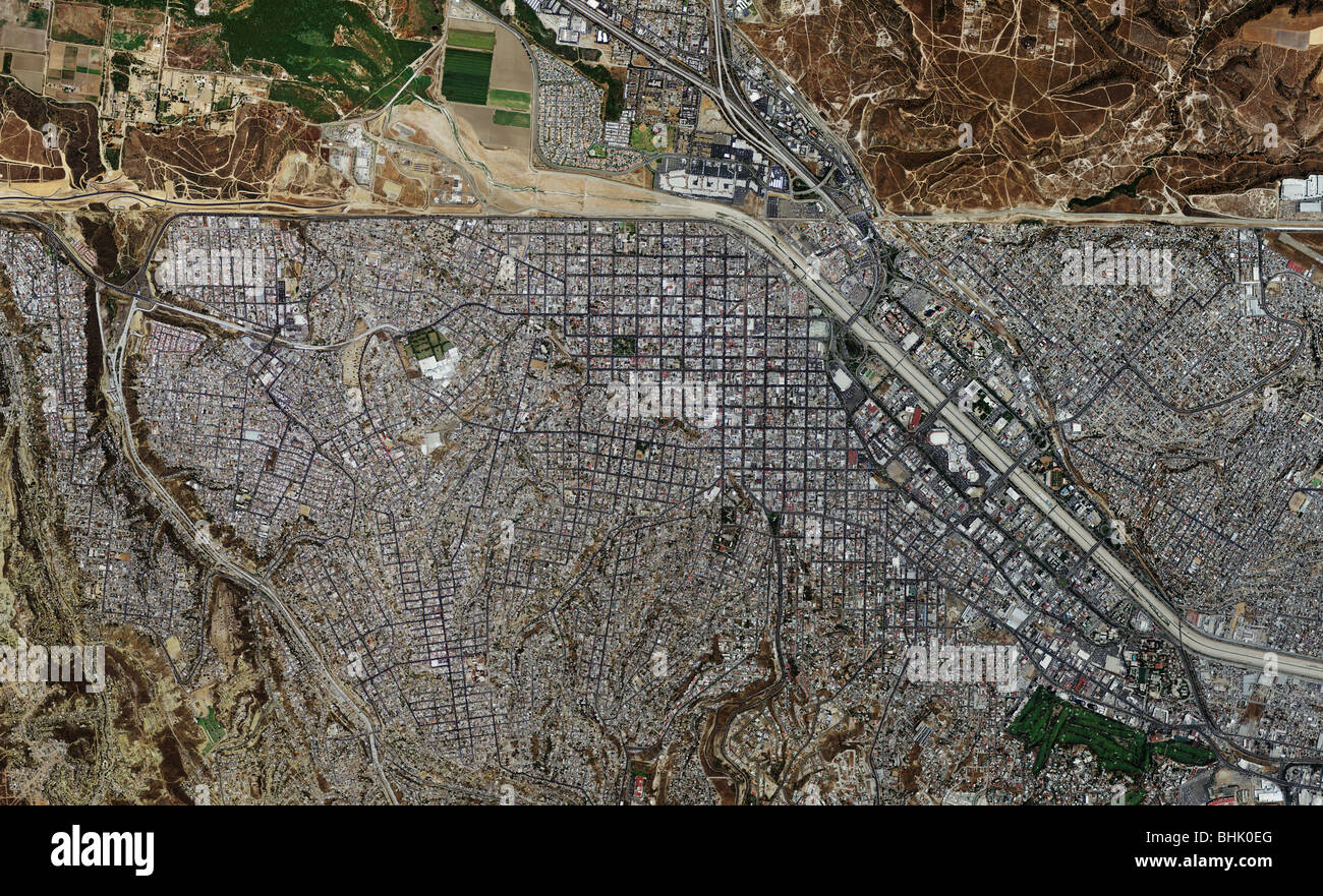 Satellite View Of The US Mexico Border With Country Boundaries - Map of the us mexico border