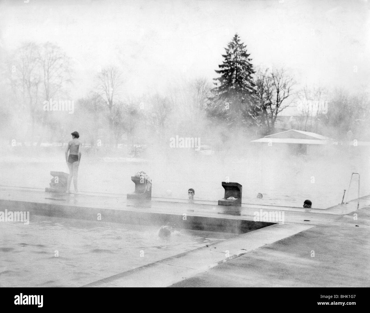 Bathing lido open air swimming pool in winter 1970s - Opening a swimming pool after winter ...