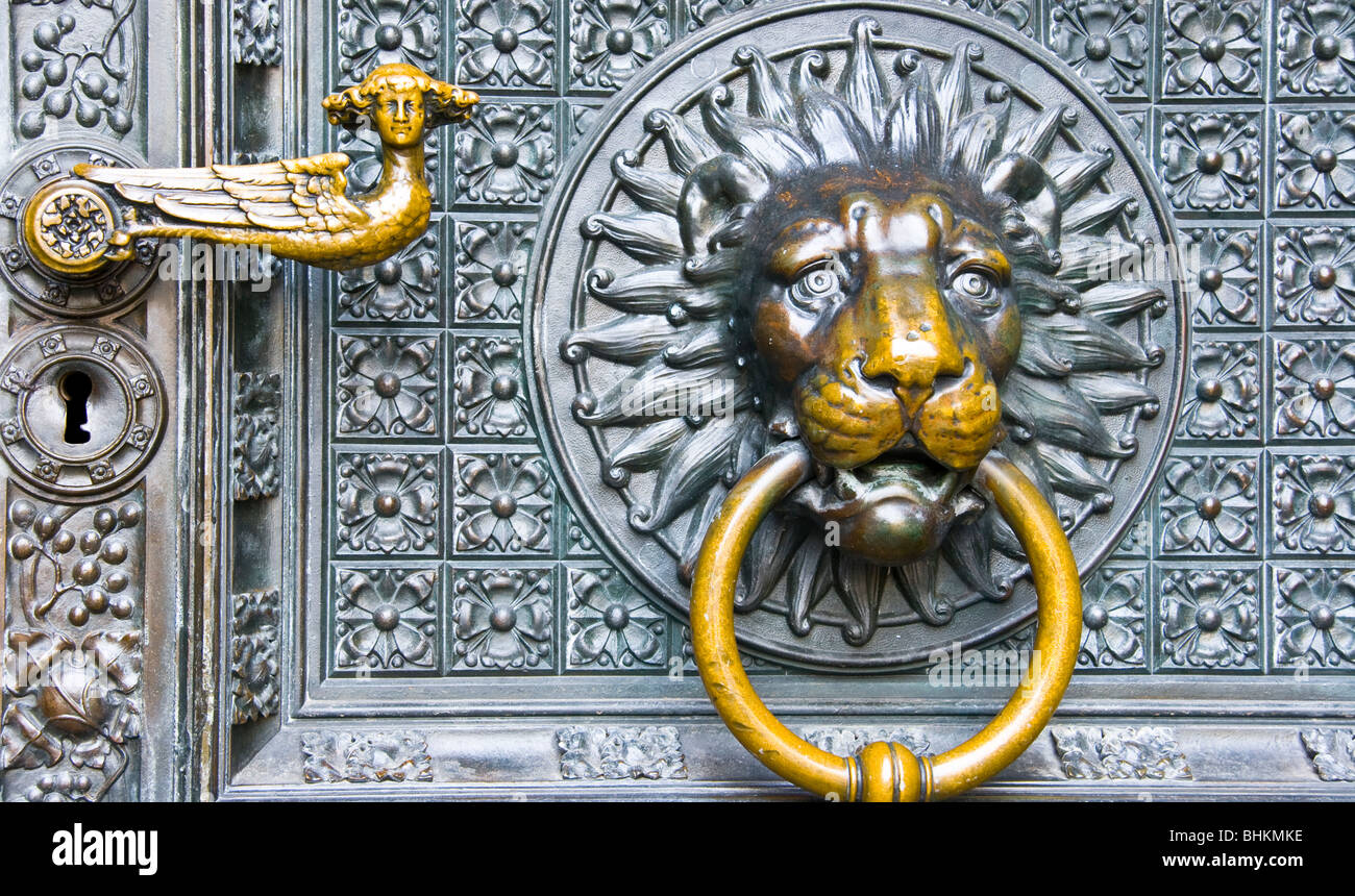 Elegant Ornate Decorative Lion Head Door Knocker On Cologne Cathedral North  Rhine Westphalia Germany Europe