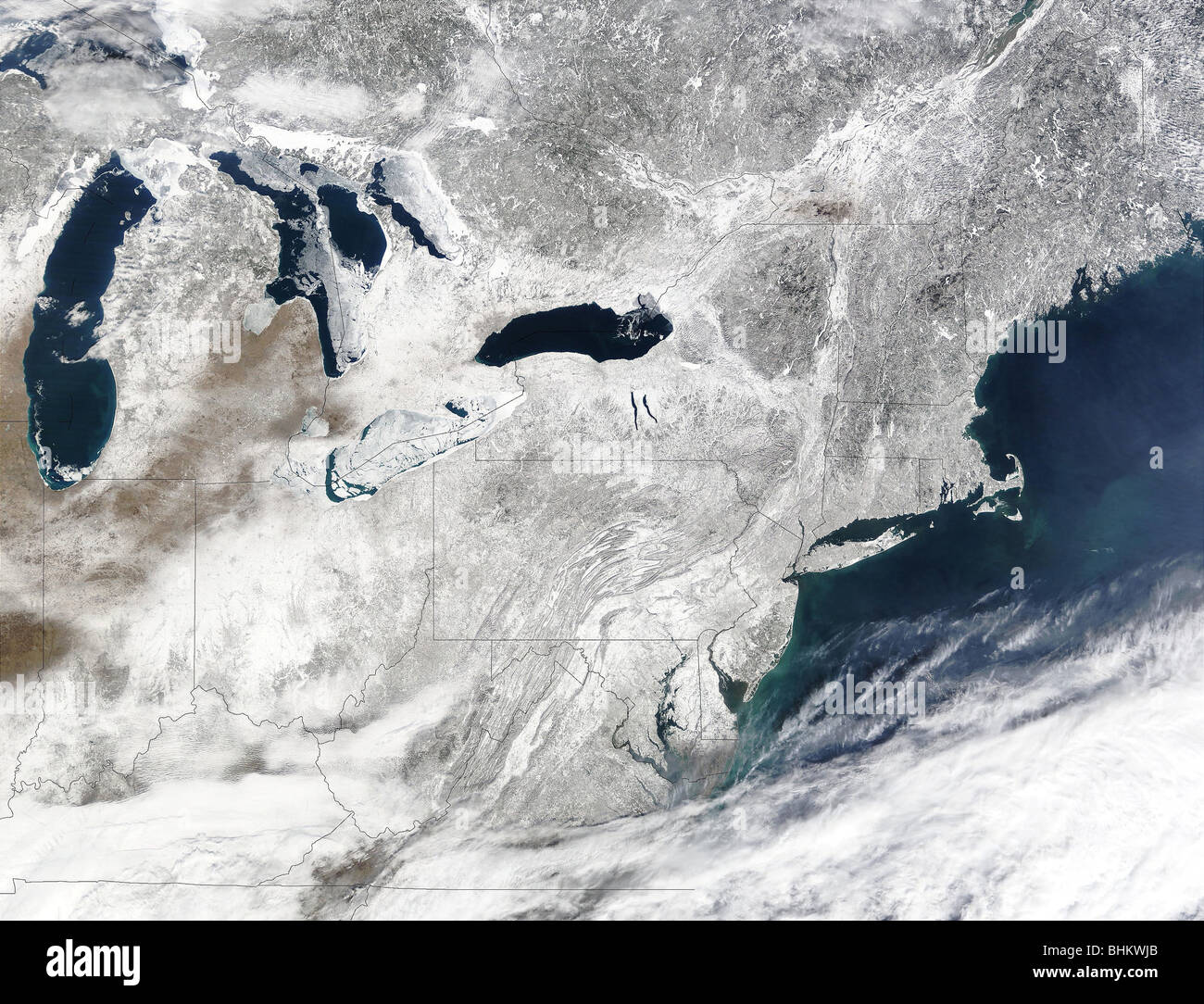Winter snow storm over the eastern United States as seen form ...