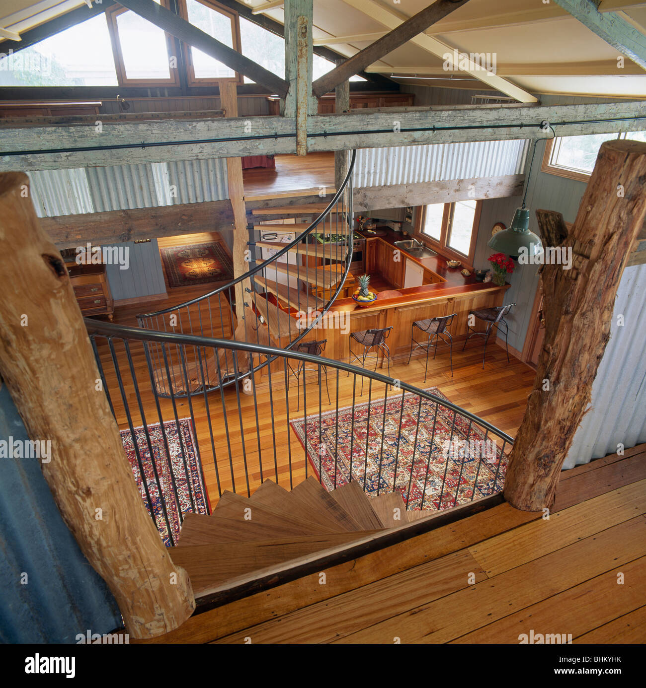 Birdseye View Of Modern Open Plan Barn Conversion Hall With Apex Roof And  Wooden Flooring