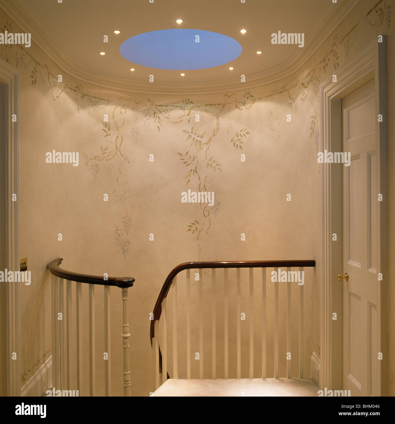 Stencilling walls images home wall decoration ideas circular skylight above staircase with hand stenciled walls stock circular skylight above staircase with hand stenciled amipublicfo Images