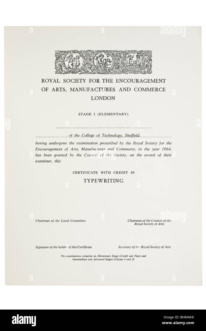 Certificate credit for typewriting from the royal society for the certificate credit for typewriting from the royal society for the encouragement of arts manufacturers and commerce xflitez Image collections