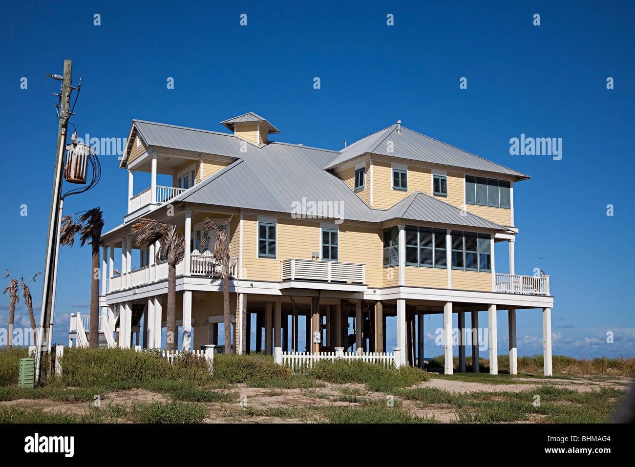 wooden house on stilts on beach front galveston texas usa