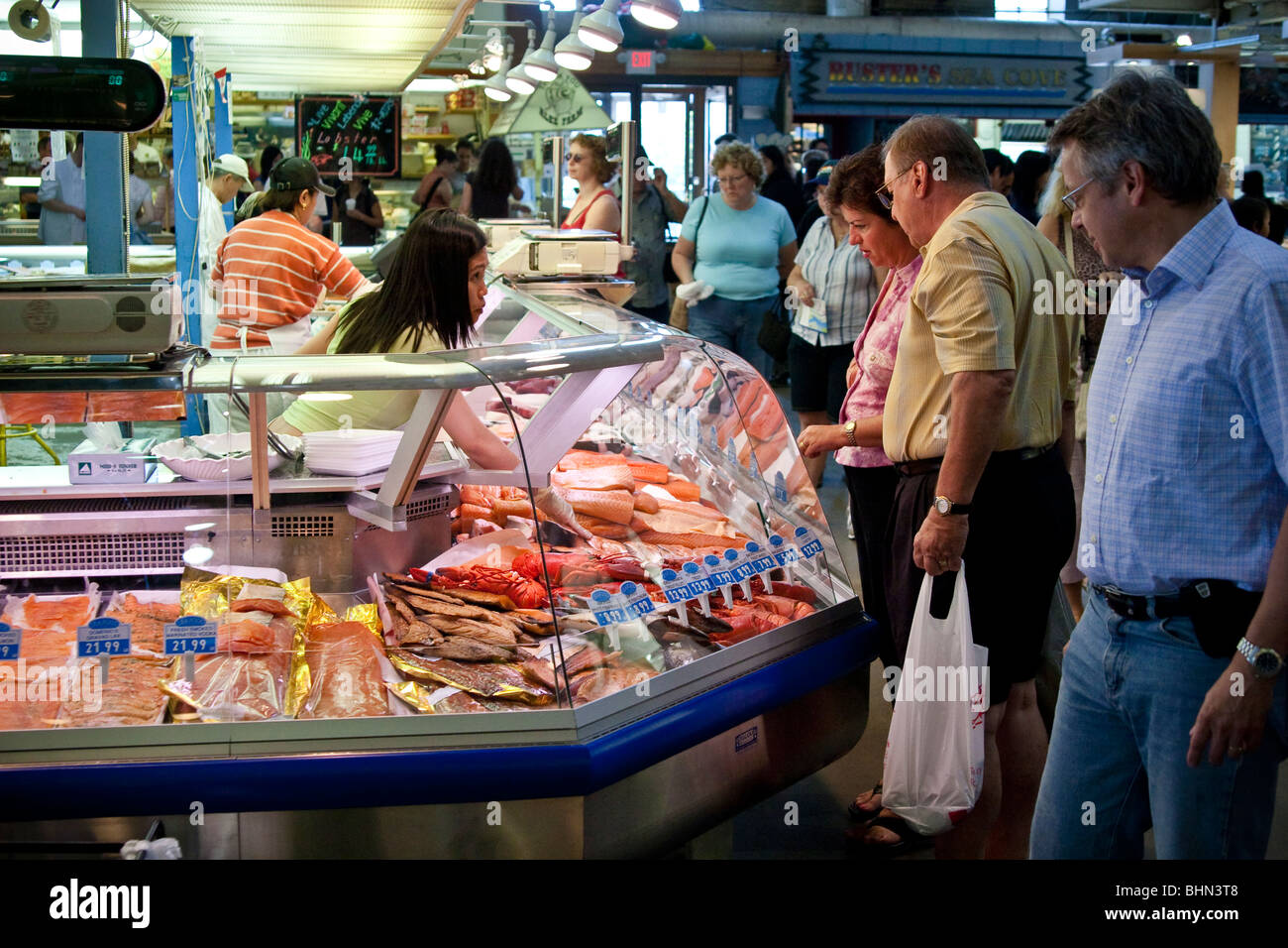 Shoppers at the st lawrence market toronto canada fish for Lawrence fish market
