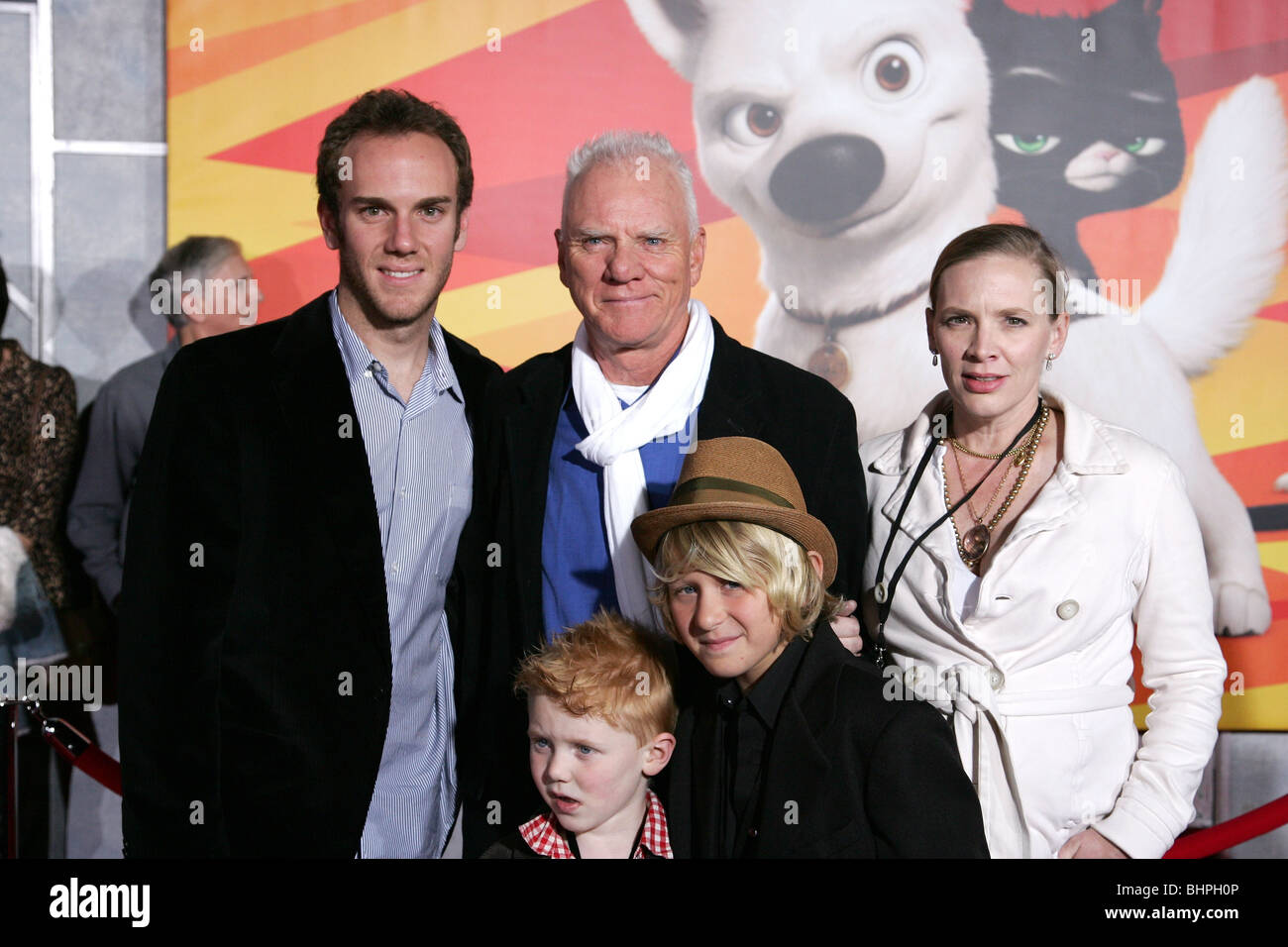 Malcolm mcdowell family bolt world premiere hollywood los angeles ca usa 17 november 2008 stock