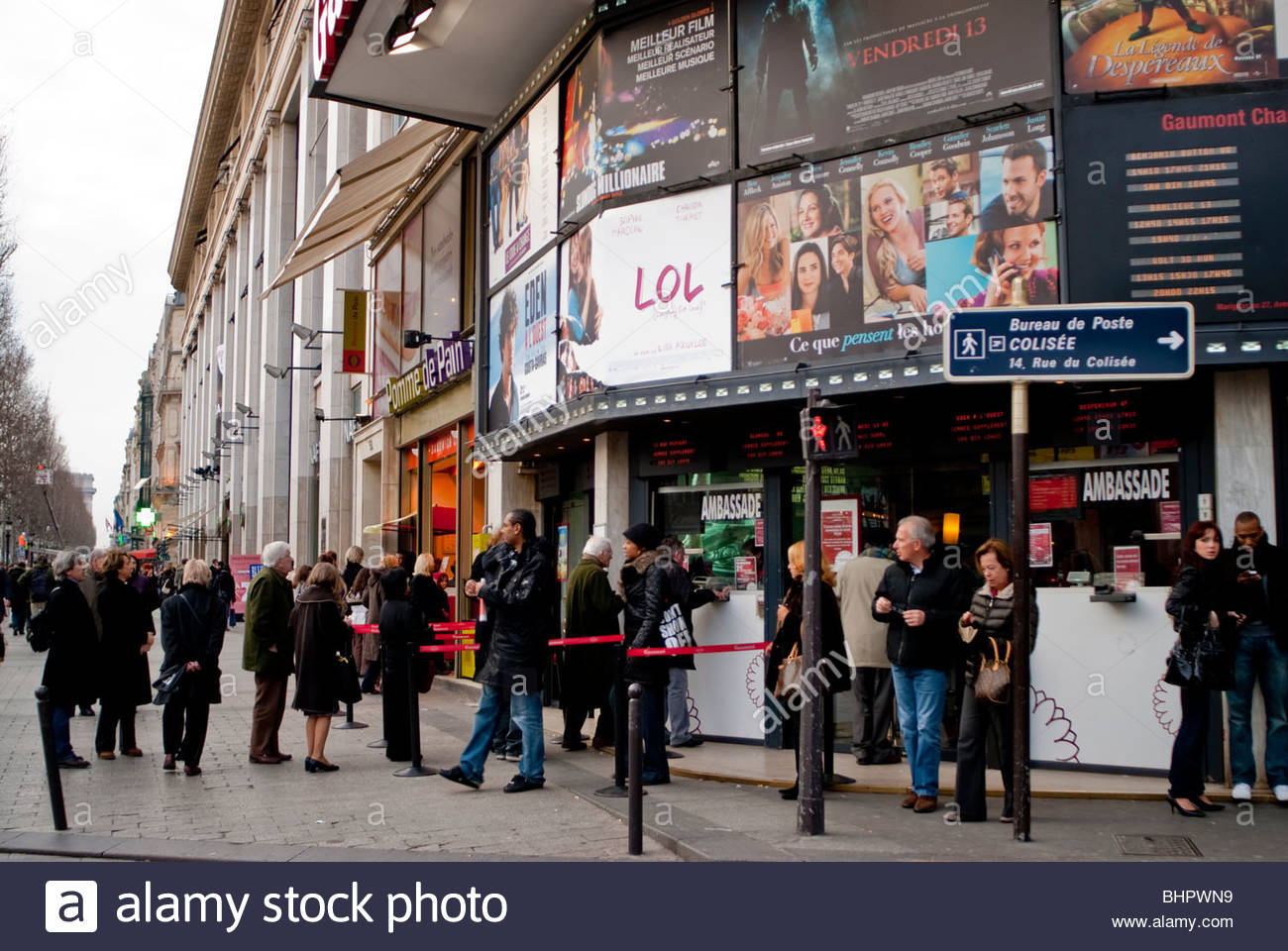 paris france crowd of people cinema theater outdoors movie stock photo royalty free image. Black Bedroom Furniture Sets. Home Design Ideas