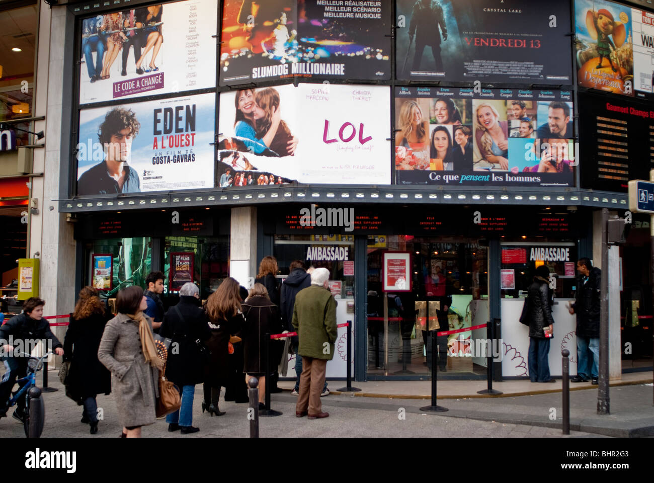paris france people queuing at gaumont cinema theater movie stock photo royalty free image. Black Bedroom Furniture Sets. Home Design Ideas
