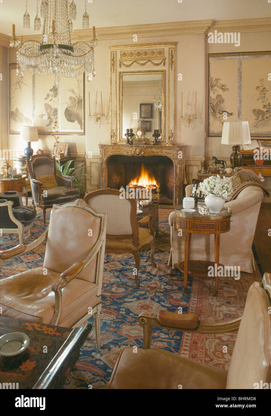 antique furniture and patterned carpet in townhouse drawing room