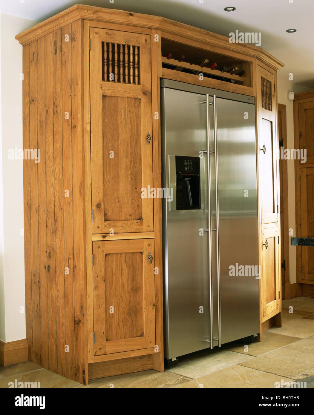 large stainless steel american style fridge freezer built. Black Bedroom Furniture Sets. Home Design Ideas