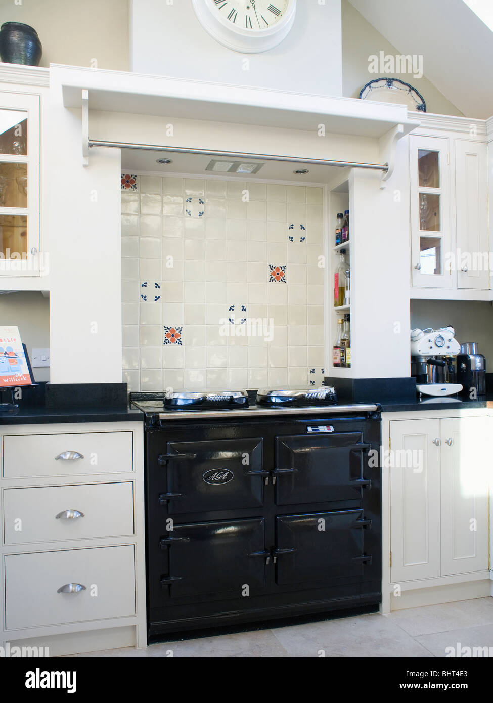 Kitchen Tiled Splashback Black Aga Oven Below Tiled Splash Back In Modern White Kitchen