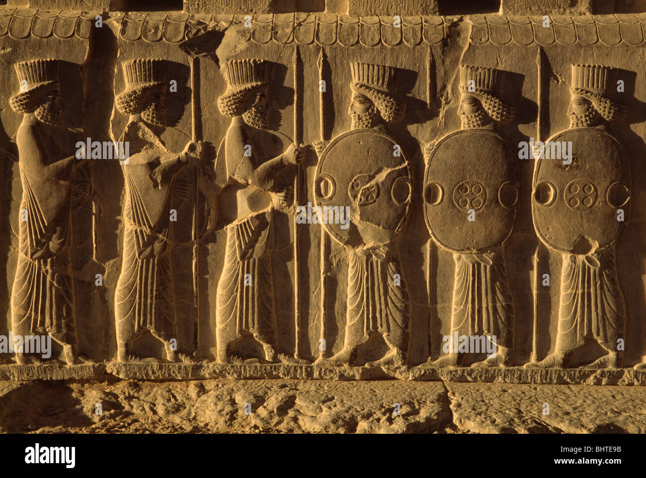 Relief sculpture of soldiers at apadana palace persepolis