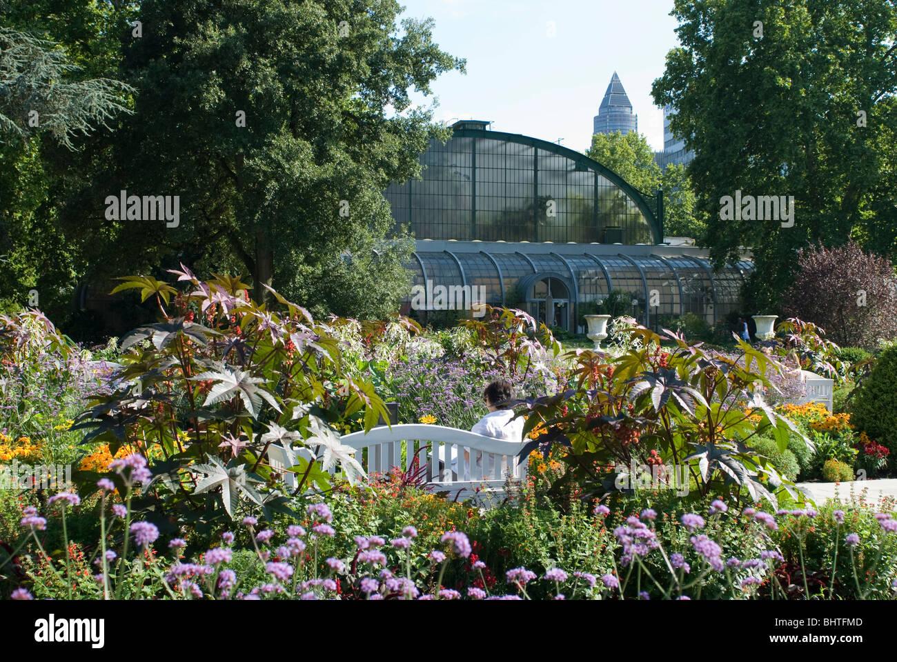 palmengarten botanical garden in frankfurt tropicarium and skyline stock photo royalty free. Black Bedroom Furniture Sets. Home Design Ideas