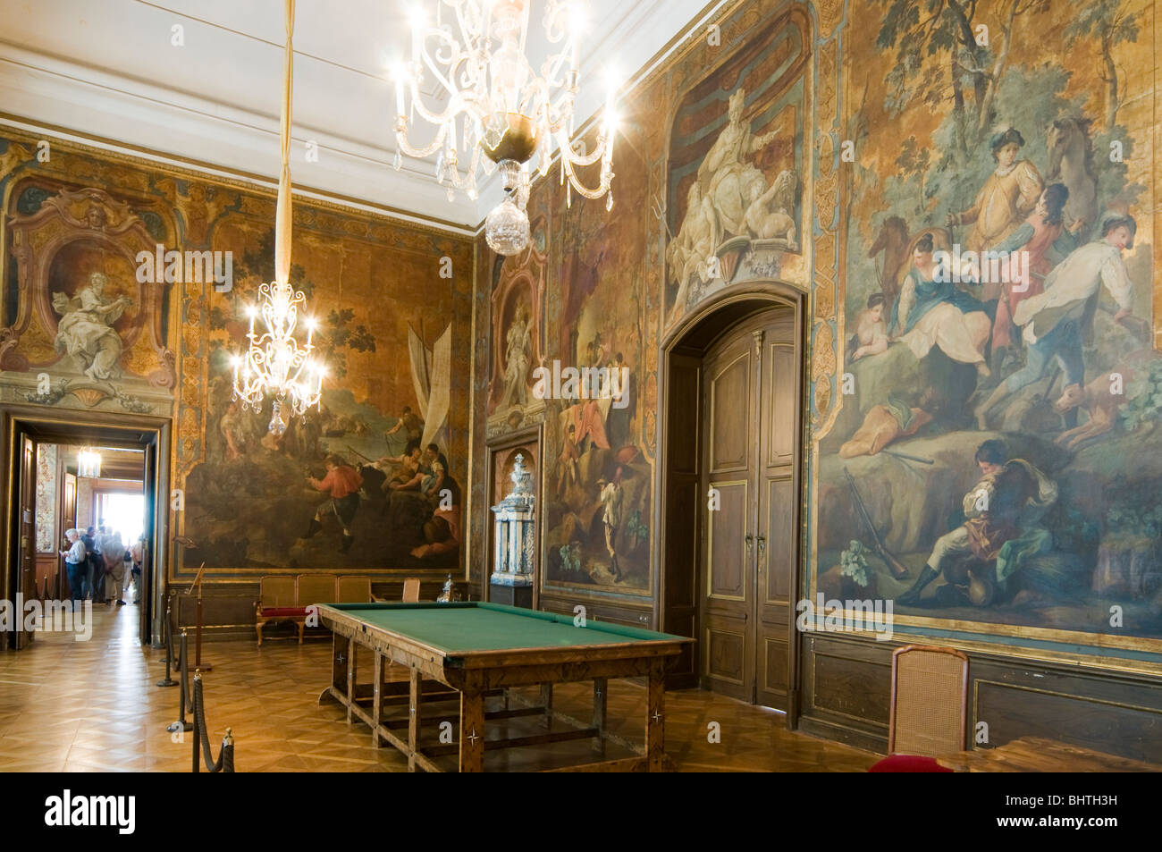 castle moritzburg, interior, billard room with leather wallpaper