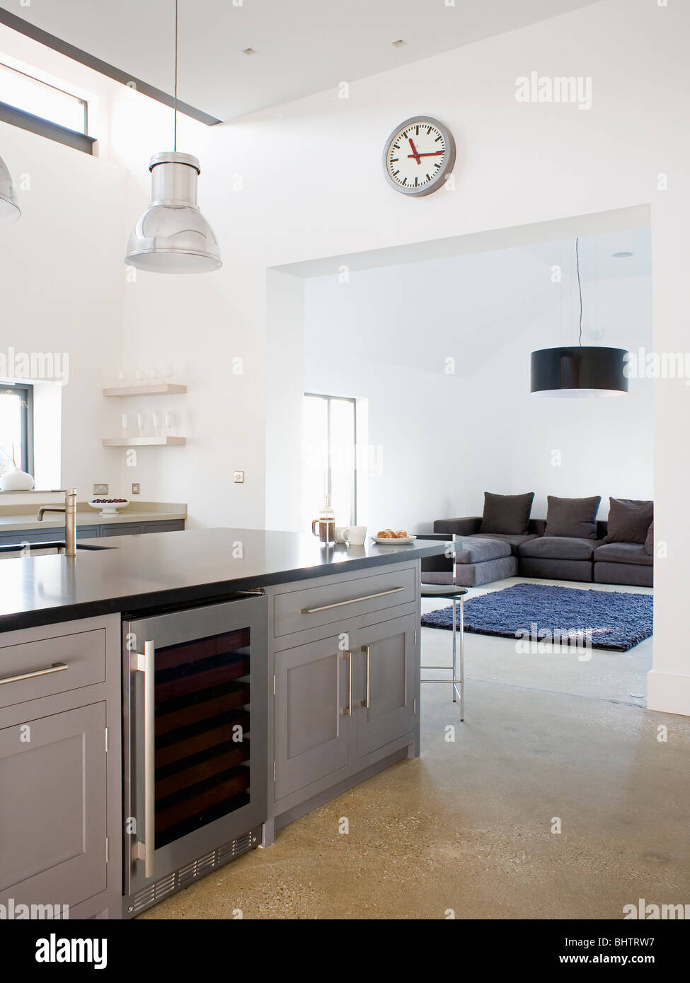 Wine Cooler In Gray Fitted Island Unit In Open Plan Modern White Stock Photo 28205107 Alamy