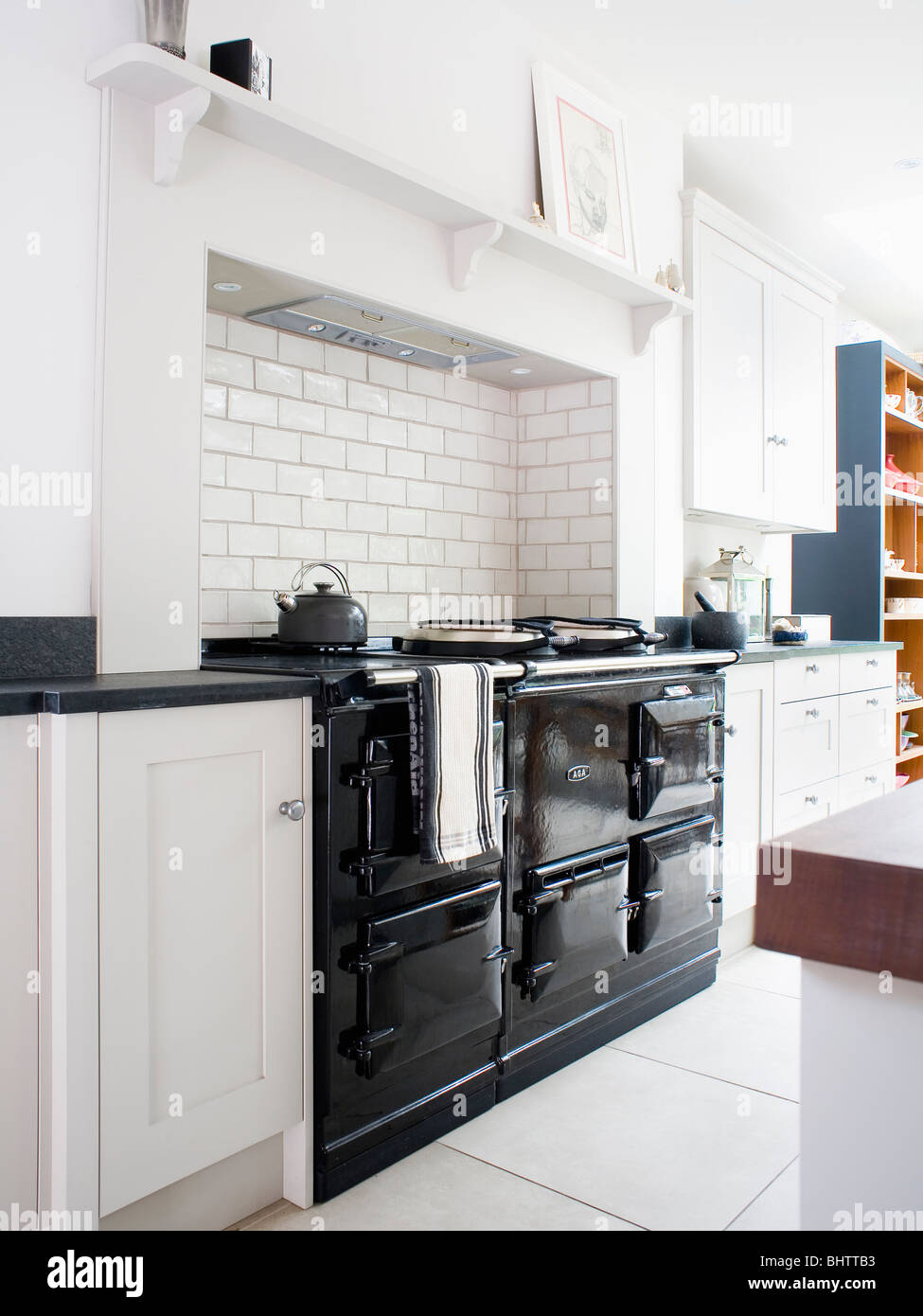 Aga Kitchen Appliances Black Double Aga Oven In Modern White Kitchen Stock Photo Royalty
