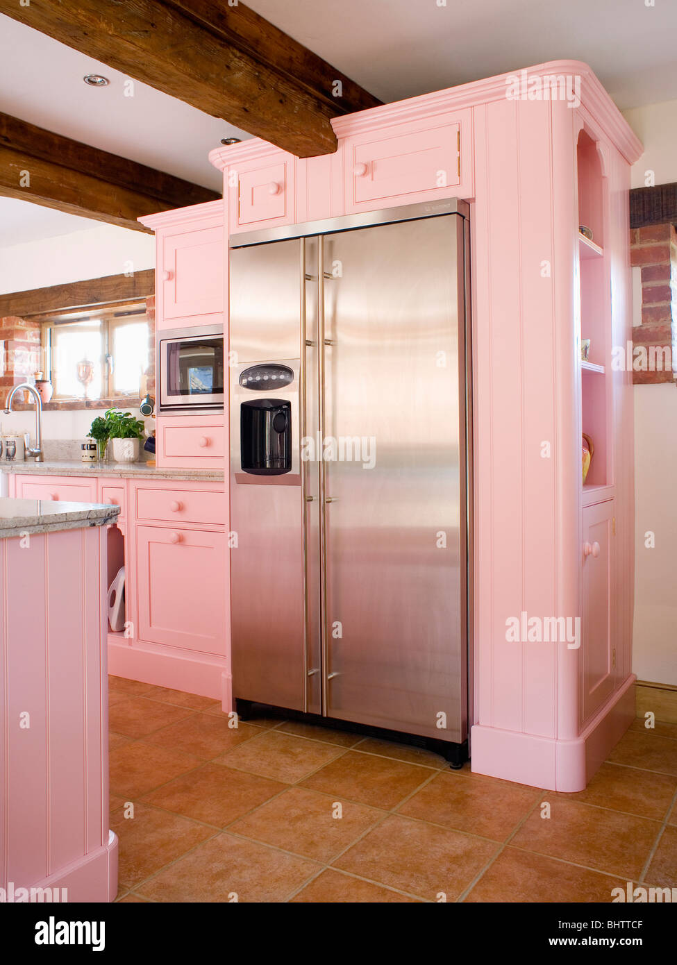 Captivating Large Stainless Steel American Style Fridge Freezer In Pastel Pink Fitted  Unit In Country Kitchen