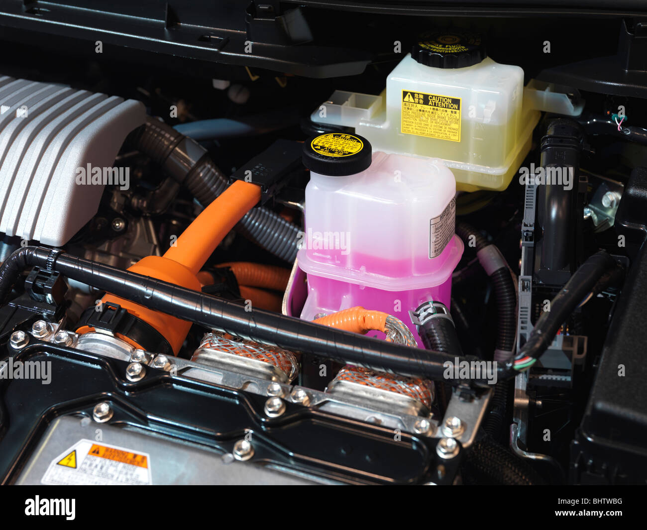 2010 toyota prius hybrid engine brake fluid and inverter coolant stock photo royalty free image. Black Bedroom Furniture Sets. Home Design Ideas