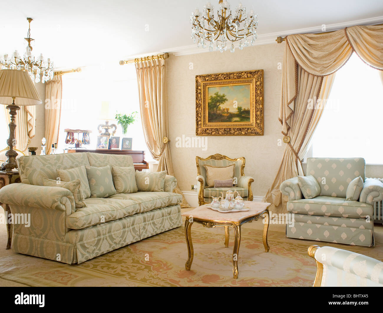 Opulent Neutral Country Living Room With Damask Sofa And Patterned - Damask living room furniture