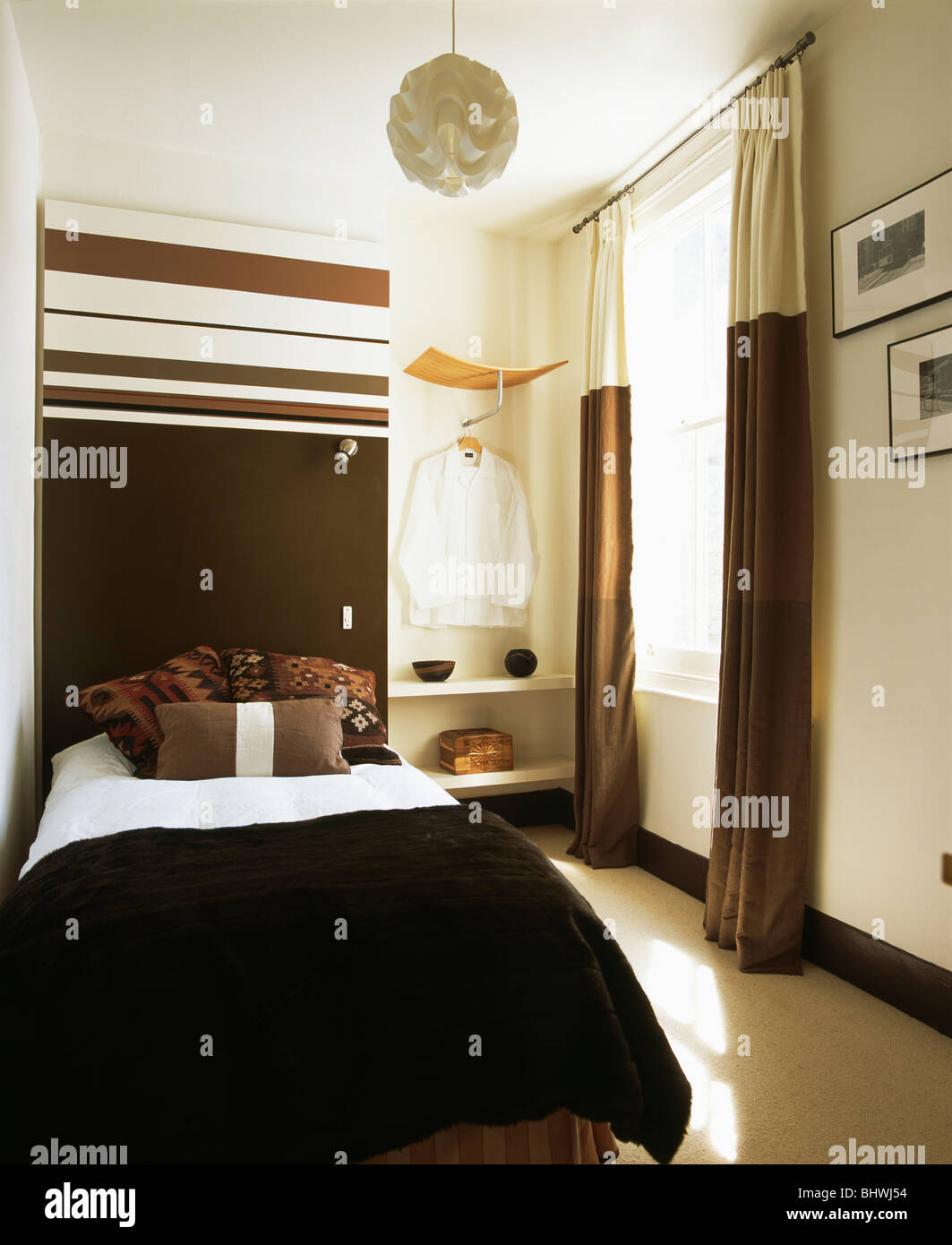 Masculine Modern Bedroom Masculine Modern Bedroom With Brown And Cream Curtains And Large
