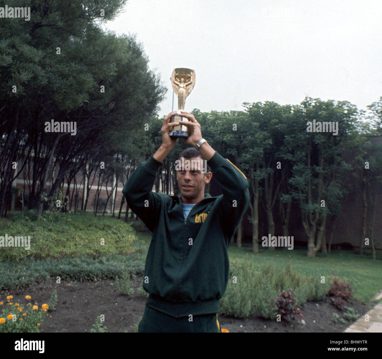 Brazil captain Carlos Alberto holds aloft the Jules Rimet World