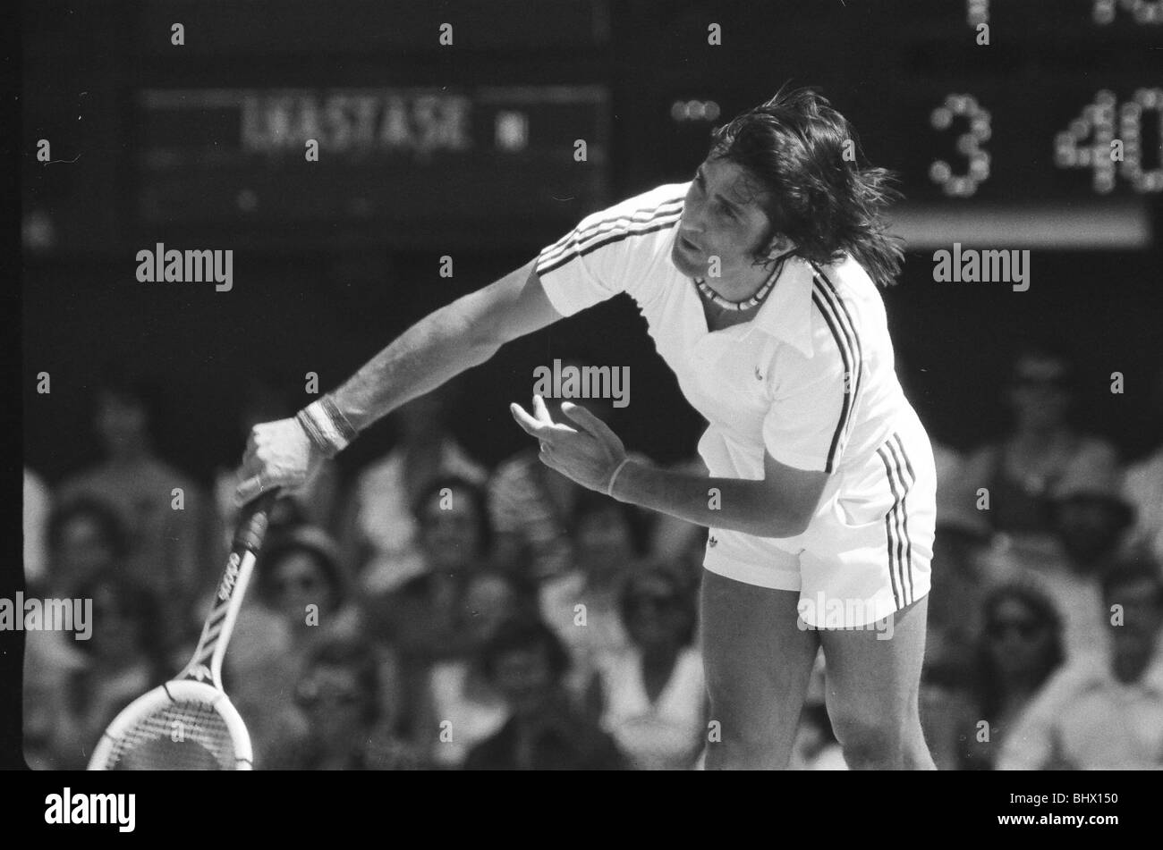 Wimbledon 1976 Ilie Nastase against Ramirez 1st July 1976 Stock