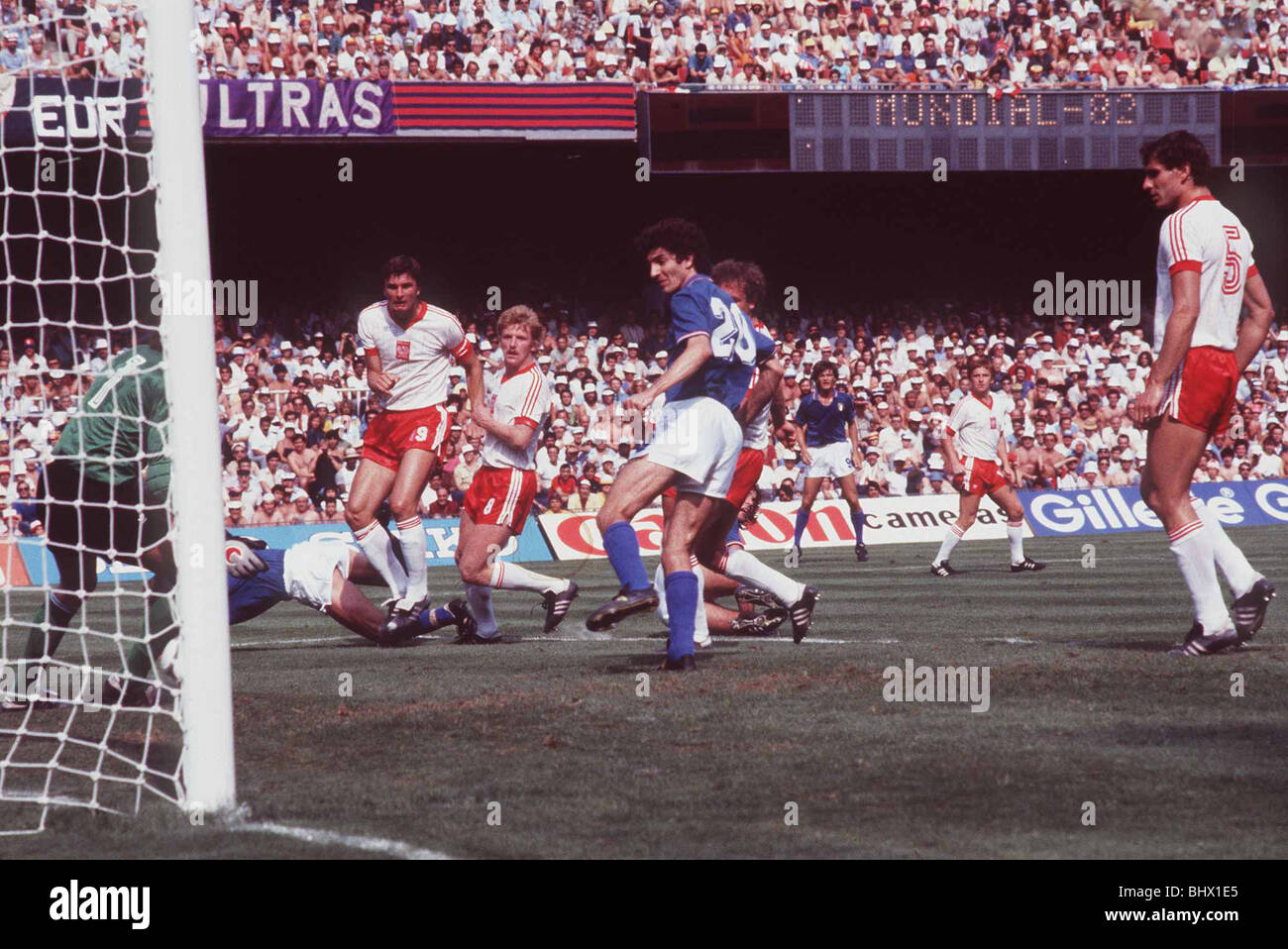 Poland v Italy 1982 World Cup Paolo Rossi scores a goal for italy